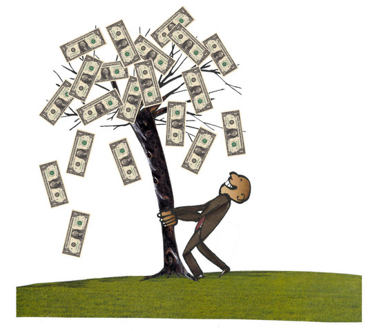 A Man Shaking The Money Tree