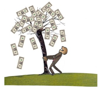 A Man Shaking The Money Tree